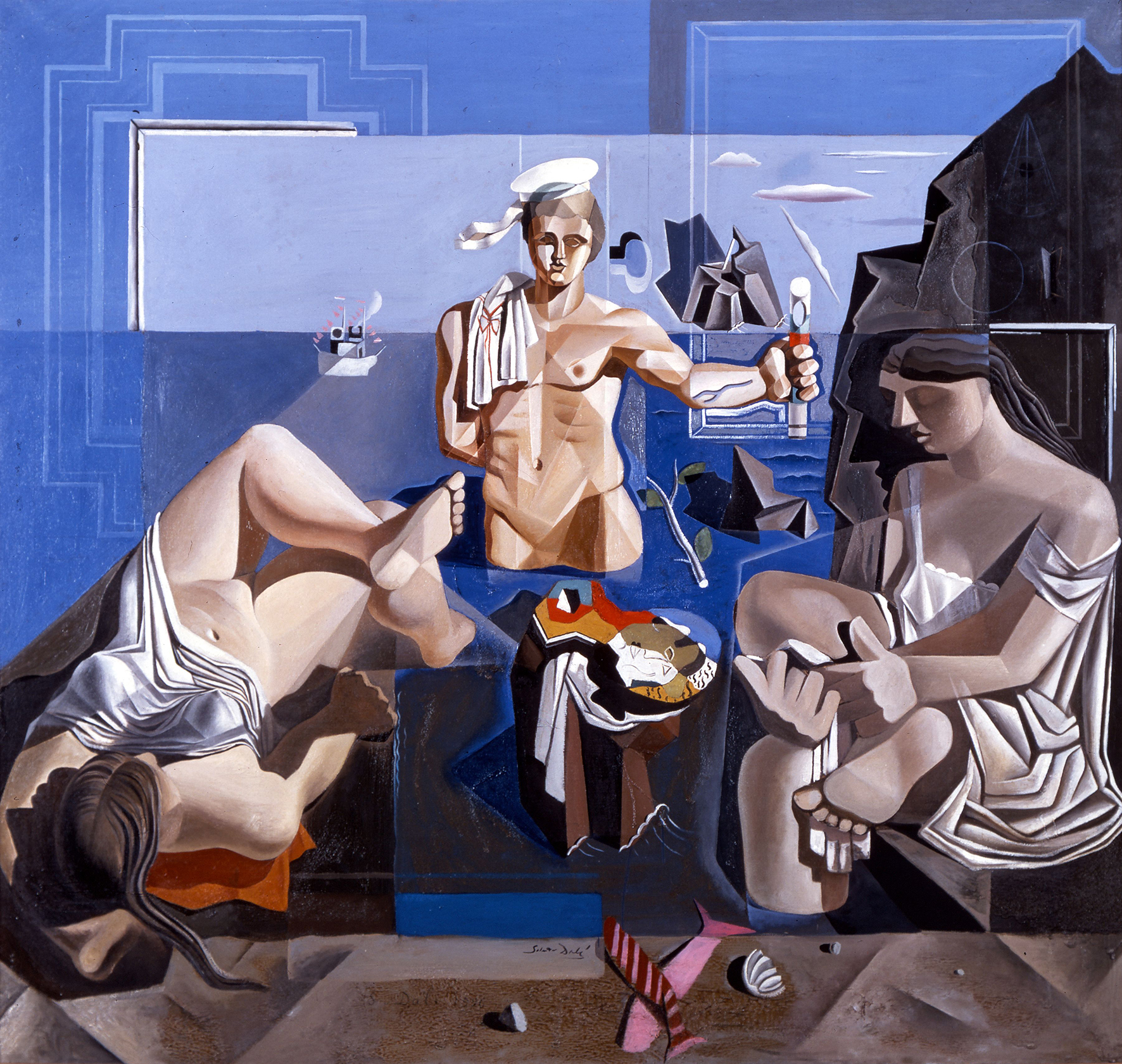 cubist potrayal of three persons in front of a blue background
