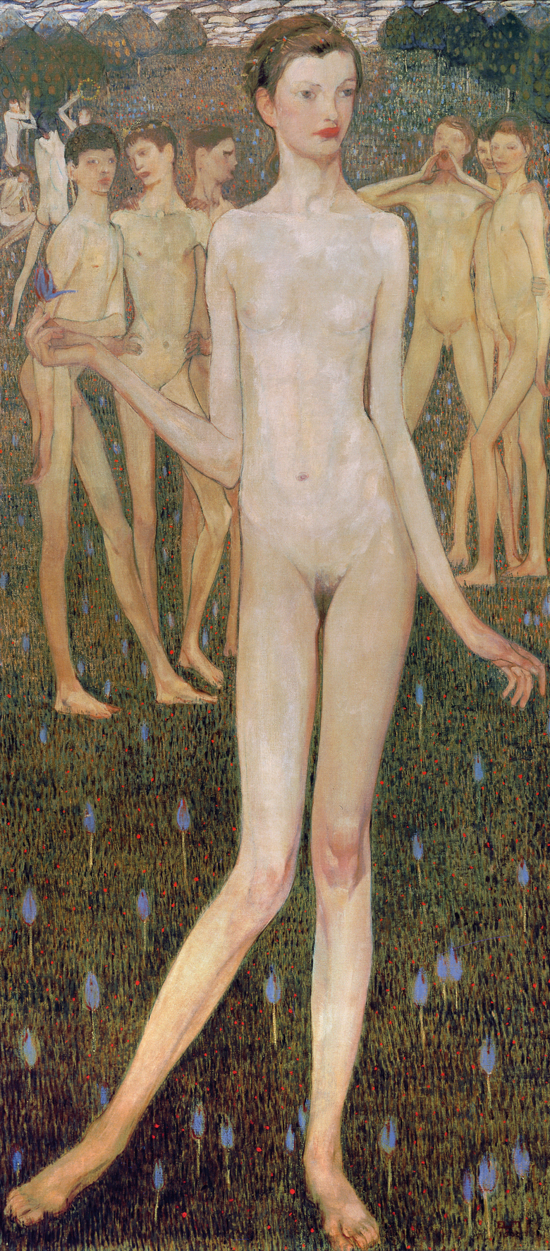 young woman in the front - in the back young men, naked as her.