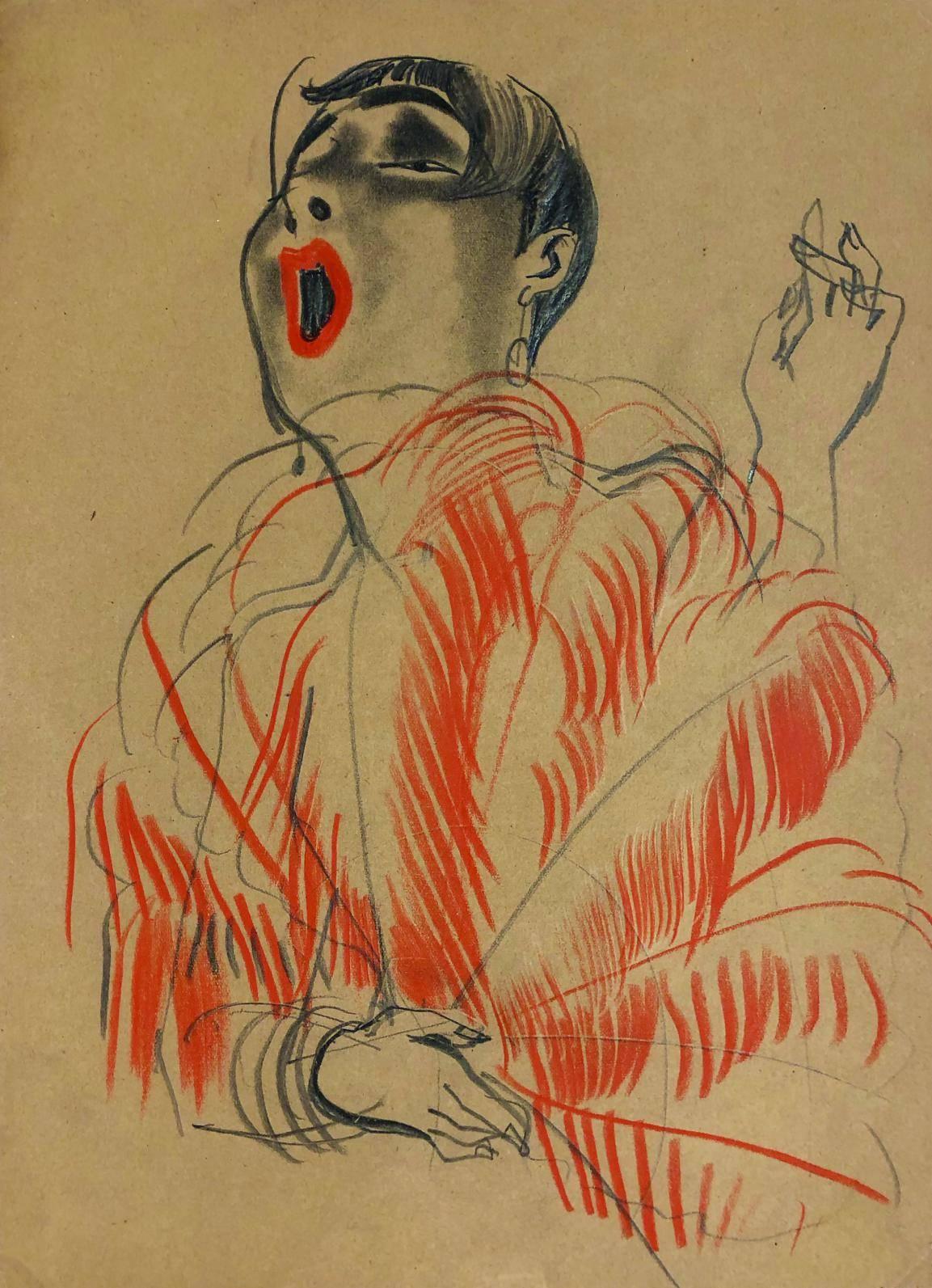 Zeichnung einer Sängerin mit großer roter Boa