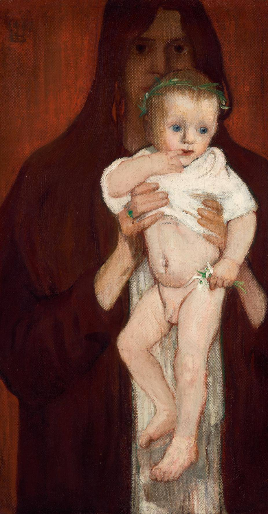 Woman holding her naked baby-son into the front, behind her a dark background.